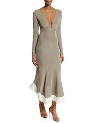 Esteban Cortazar Long Sleeve Paneled V Neck Midi Dress Sand Brown Size 38