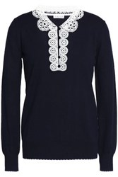 Claudie Pierlot Martine Crochet Trimmed Cotton Blend Sweater Black