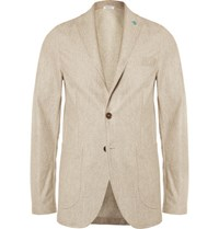 Eidos Augusto Unstructured Wool Silk And Linen Blend Blazer Brown