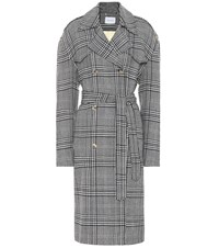 Magda Butrym Checked Wool Coat Grey