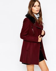 New Look Biker Jacket With Faux Fur Collar Burgundy