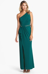 Js Boutique Beaded Waist One Shoulder Jersey Gown Hunter