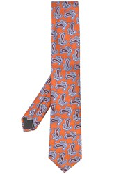 Canali Silk Paisley Tie Orange