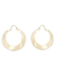 Irene Neuwirth Pearl Studded Hoop Earrings Yellow And Orange