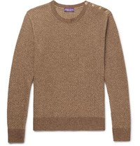 Ralph Lauren Purple Label Slim Fit Waffle Knit Silk Sweater Brown