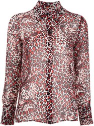 Saint Laurent Leopard Print Shirt Red