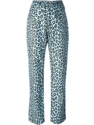 Fendi Vintage Leopard Slim Trousers Blue