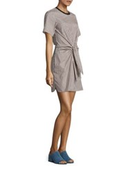 3.1 Phillip Lim Cotton And Silk Tie Front Dress Ecru Brown