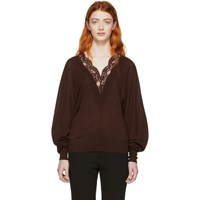 Chloe Red Wool And Silk Lace V Neck Sweater