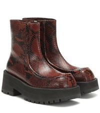 Marni Snake Effect Leather Ankle Boots Brown