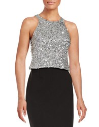 Adrianna Papell Sequined Halter Top Silver Grey