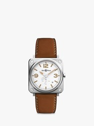 Bell And Ross Brs Wheri St Sca Unisex Heritage Date Leather Strap Watch Tan White
