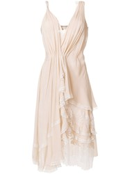 Ermanno Scervino Ruffled Asymmetric Dress Nude And Neutrals