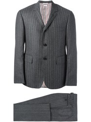 Thom Browne Pinstriped Business Suit Grey