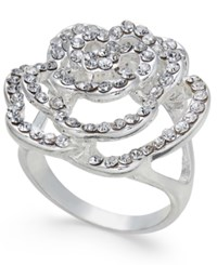 Inc International Concepts Silver Tone Pave Rose Ring Only At Macy's