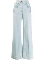 Etro Embroidered Wide Leg Jeans Blue