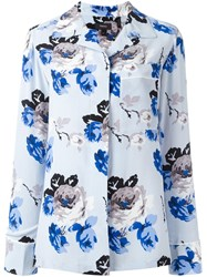 Theory Floral Print Shirt Blue