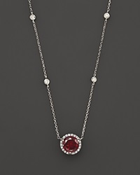 Bloomingdale's Garnet And Diamond Halo Pendant Necklace With 4 Stations In 14K White Gold 16 Red White