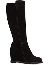 Chuckies New York Wedge Knee High Boots Black