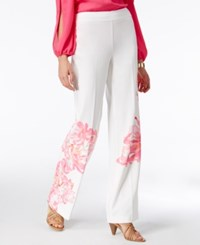Inc International Concepts Petite Floral Print Wide Leg Pants Only At Macy's White Peony