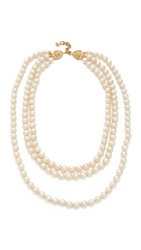 Wgaca Chanel Triple Strand Imitation Pearl Necklace Previously Owned Pearl Gold