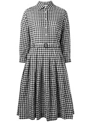 Aspesi Checked Flared Shirt Dress Black