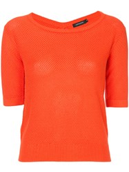 Loveless Fitted Knitted Top Yellow And Orange