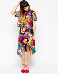 House Of Holland Pop Print Quilted Silk Midi Wrap Skirt Multi
