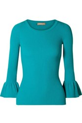 Michael Kors Collection Ruffled Ribbed Knit Sweater Turquoise