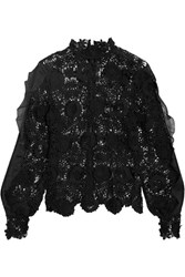 Self Portrait Naia Chiffon Trimmed Guipure Lace Blouse Black