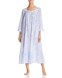 Eileen West Lawn Long Sleeve Ballet Gown White Ground Blue Roses