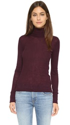 Alexander Wang Wooly Ribbed Fitted Turtleneck Plum