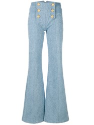Balmain 6 Button Flocked Wide Leg Jeans Blue