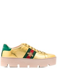 Gucci Ace Embroidered Platform Sneakers Gold