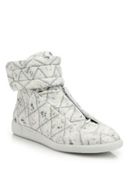 Maison Martin Margiela Quilted Jersey High Top Sneakers White Blue