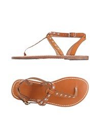Maison Scotch Toe Strap Sandals Brown