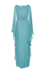 Oday Shakar Chiffon Butterfly Sleeve Gown With Belt Blue