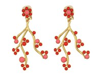 Oscar De La Renta Cabochon And Crystal Vine C Earrings Cayenne Earring Red