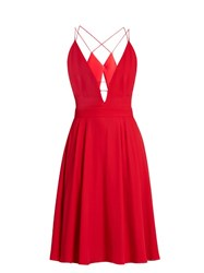 La Mania Selene Plunging V Neck Sleeveless Crepe Dress Red