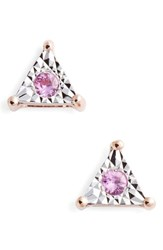 Dana Rebecca Designs Emily Sarah Sapphire Triangle Stud Earrings Rose Gold Pink Sapphire