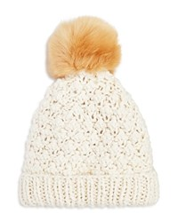 Nor La Knit Beanie With Faux Fur Pom Pom Compare At 59.50 Vanilla