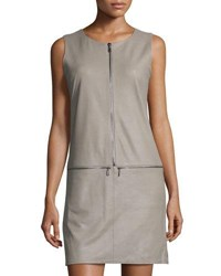 My Tribe Sleeveless Leather Zip Detail Dress Taupe
