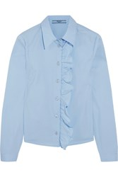 Prada Ruffled Cotton Blend Poplin Shirt Sky Blue