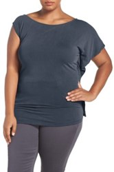 Addition Elle Love And Legend Asymmetrical Off The Shoulder Top Plus Size Blue