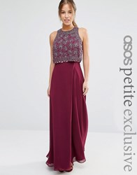 Asos Petite All Over Embellished Crop Top Maxi Dress Berry Purple