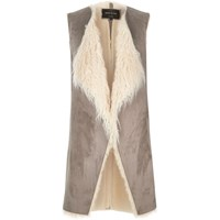 River Island Womens Grey Mongolian Faux Fur Vest