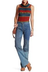 Free People Alissas Patchwork Flare Jean Blue