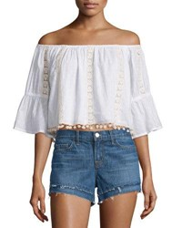 Tularosa Alexa Lace Inset Off Shoulder Crop Top White