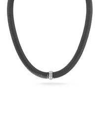 Alor Kai Coil Cable Necklace W Pave Diamonds Black