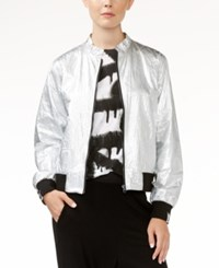Rachel Roy Metallic Bomber Jacket Only At Macy's Silver